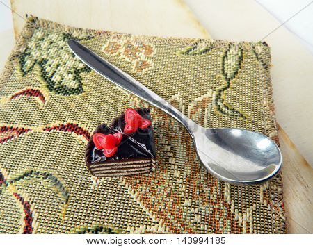 Miniature Polymer Clay Strawberry Cake On The Table