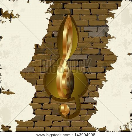 Golden treble clef with a cut in the brick wall. There is space for text or image. All elements of the image are made independently without reference image.