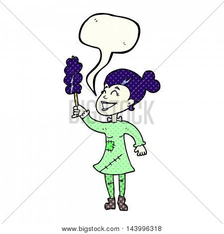 freehand drawn comic book speech bubble cartoon undead monster lady cleaning