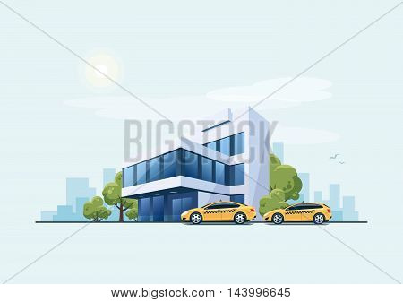Vector illustration of modern business office building with green trees and taxi cars. Yellow cabs parked near the sidewalk waiting for customers in front of the workplace in cartoon style. Urban city skyscrapers skyline on blue background.