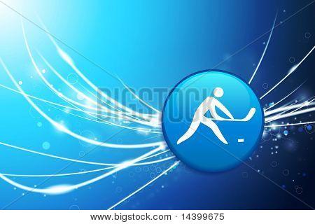 Eishockey-Schaltfläche auf blauen Licht abstrakt Original Illustration