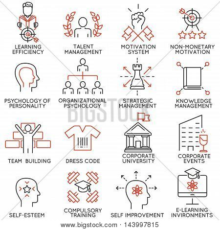 Vector set of 16 linear thin icons related to striving for success leadership development career progress and personal training. Mono line pictograms and infographics design elements - part 6