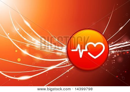 Pulse Button on Red Abstract Light Background Original Illustration