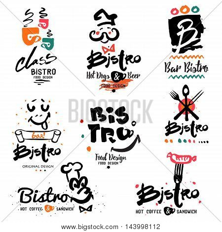 Bistro logo, images and design elements. Quick hot food symbols and illustration handmade