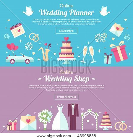 Vector header and banner design templates. For online wedding shop wedding planner or other wedding services. Flat style.