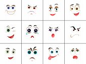 Set of smileys with expression of emotions. Funny emoticons expressing anger, happiness, sadness, joy, surprise, wonder, amazement. Different mood states collection isolated on white. Vector poster