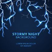 Stormy night with striking lightnings background. Electricity power and bright energy, vector illustration poster