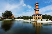 Thai Royal Residence and Sages Lookout Tower in Bang Pa-In Palace Ayutthaya Thailand. poster