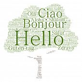 Vector concept or conceptual tree hello or greeting international word cloud in different languages or multilingual, metaphor to world, foreign, worldwide, travel, translate, vacation or tourism poster