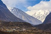Langtang village Valley and scenery of himalaya mountain range one of the popular trekking route in Nepal poster
