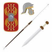 Vector illustration roman empire legionary shield spade helmet and gladius roman ancient weapon poster