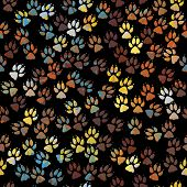 Editable vector seamless tile of colorful dog paw prints poster
