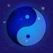Symbol of yin and yang, the emblem of Taoism on the cosmic universe background. Design for meditation, spiritual geometry poster