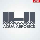 Symbol of Aqua Aerobics and Aqua Fitness. Vector illustration Isolated on background. poster