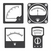 Icons of electrical measuring instruments. Vector illustration poster