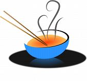 Chop sticks and soup bowl Asian soup illustration poster