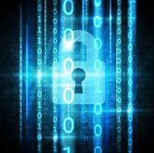 Cyber security concept. Padlock with keyhole and matrix streaming. vector poster