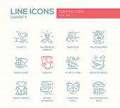 Charity - modern vector line design icons and pictograms set. Awareness ribbon, donation, help children, safe planet, plant a tree, dove of peace, happy family, blood donation, financial, accommodation help poster