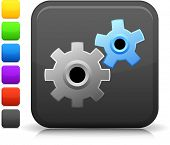 Working Gears icon on square internet button  Six color options included. poster