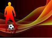 Soccer Player on Abstract Orange Background Original Vector Illustration poster