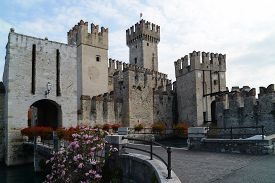 The medieval Scaliger Castle in Sirmione a small town on the shores of Lake Garda Italy.