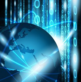 Global communication network on abstract binary background