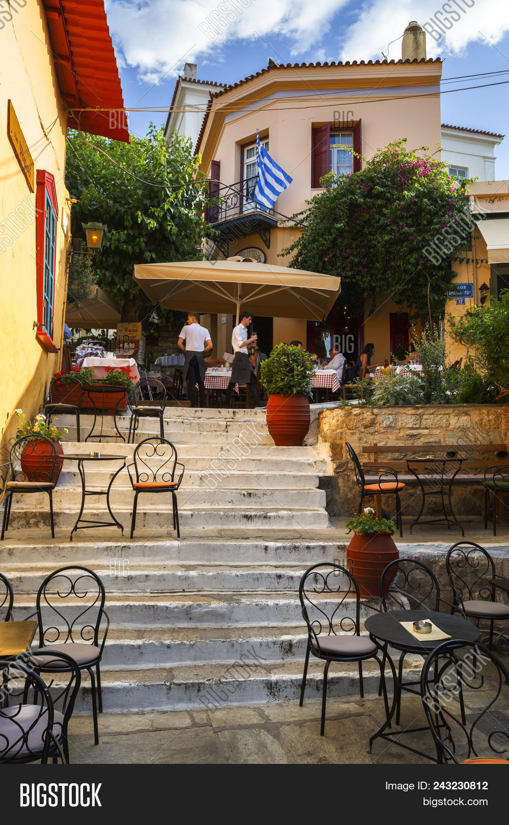 Athens greece may 30 2018 taverna and a coffee shop in plaka