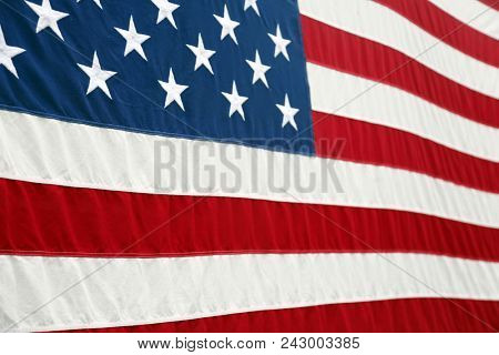American Flag. Partial View of American Flag. Signs and Symbols.