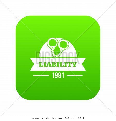 Liability Icon Green Vector Isolated On White Background