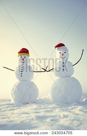 Happy New Year With Snowman. Snowmans Happy Couple. Snowmans Celebration. New Year Snowmen From Snow