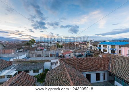 Latacunga Ecuador May 2018 View Of The Roofs Of The City At Sunset And In The Background The Church