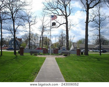 Defiance College Flag Pole With United States Of America National Flag And Pow Mia Flag, Defiance Co