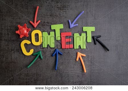 Content Is King In Brand Communication And Advertising Concept Idea, Colorful Arrows Pointing To The