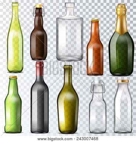 Bottle Glass Vector Glassware Of Water-bottle And Cupping-glass Or Glass-jar For Drinks Or Beverages