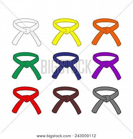 Martial Arts Belts With Different Rank Colors. Karate, Taekwondo, Judo, Jujitsu, Kickboxing, Or Kung