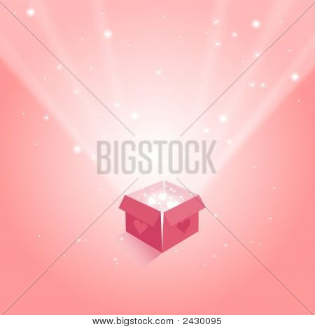 Magic Gift Box With Hearts