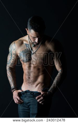 Desire With Sexuality And Attraction. Man Stripper Show Sexy Torso. Sportsman With Six Pack And Ab S