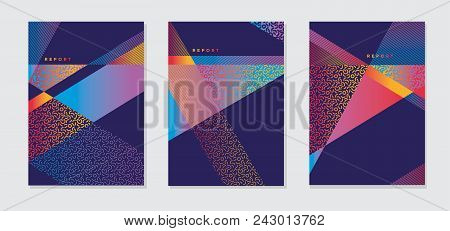 Abstract Modern Bright Color Geometric Cover Template. Geometry Stripes And Triangle Business Style
