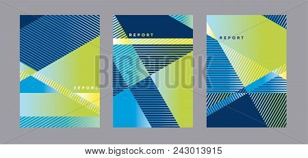 Concept Modern Blue And Green Geometric Cover Template. Geometry Stripes And Triangle Business Style
