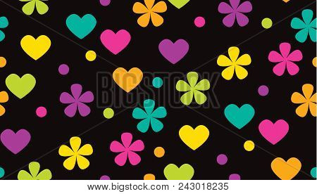 Abstract Polka Dot Tropical Color Floral Pattern. Cute Color Flowers And Heads Motif. Simple Traditi