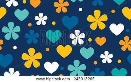 Abstract Polka Dot Floral And Heads Seamless Pattern. Cute Color Flowers And Dots Motif. Simple Cute