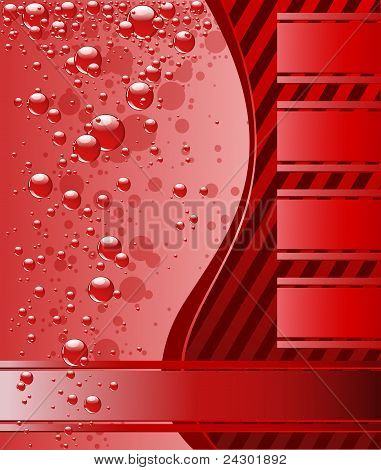 Red underwater background with beautiful bubbles