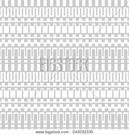 Seamless Geometric Black And White Lattice Pattern. Light Gray Ornament With Ancient Greek Motifs
