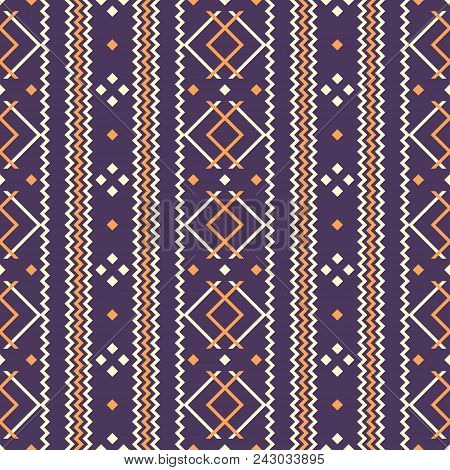 Seamless Folk Style Geometric Pattern Violet And Orange Colors. Rustic Ornament