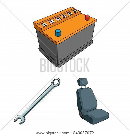 Car, Vehicle Cartoon Icons In Set Collection For Design. Car And Equipment Vector Symbol Stock  Illu