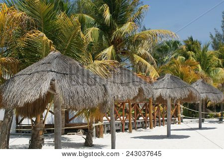Tropical Island Beach Vacation Background With White Sand.
