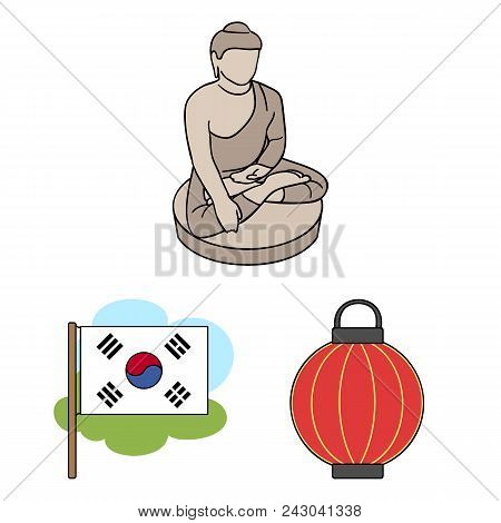Country South Korea Cartoon Icons In Set Collection For Design.travel And Attraction Vector Symbol S