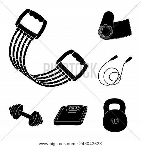 Gym And Training Black Icons In Set Collection For Design. Gym And Equipment Vector Symbol Stock  Il