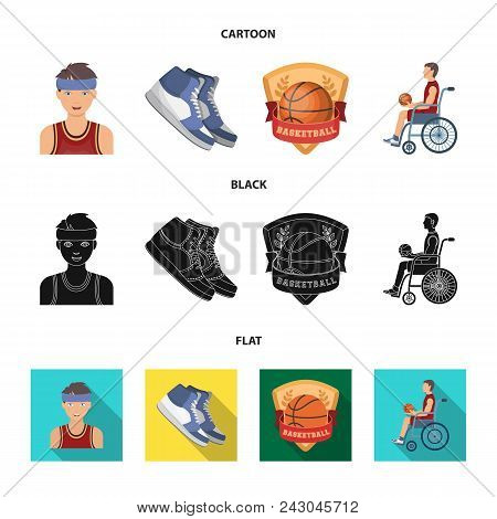 Basketball And Attributes Cartoon, Black, Flat Icons In Set Collection For Design.basketball Player