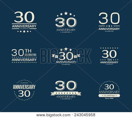 30 - Year Anniversary Celebrating Logotype. 30th Anniversary Logo Set.